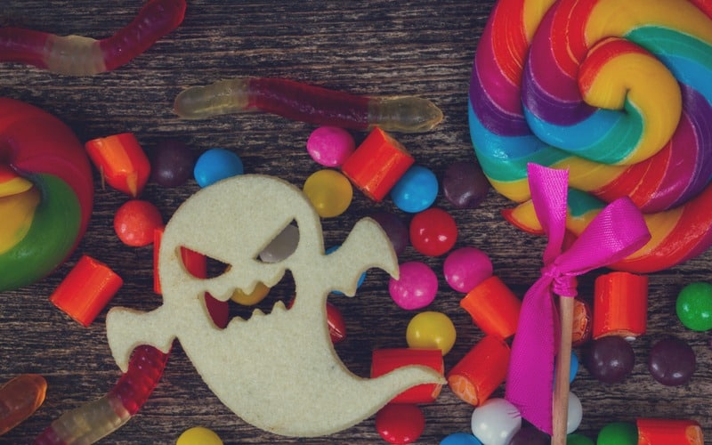 Sugary treats with a scary ghost cookie.