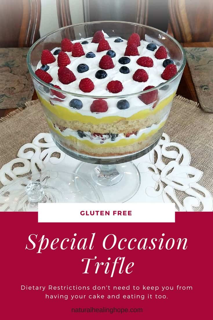 Trifle dish with text overlay that says: Gluten-Free Special Occasion Trifle, Dietary Restriction don't need to keep you from having your cake and eating it too.