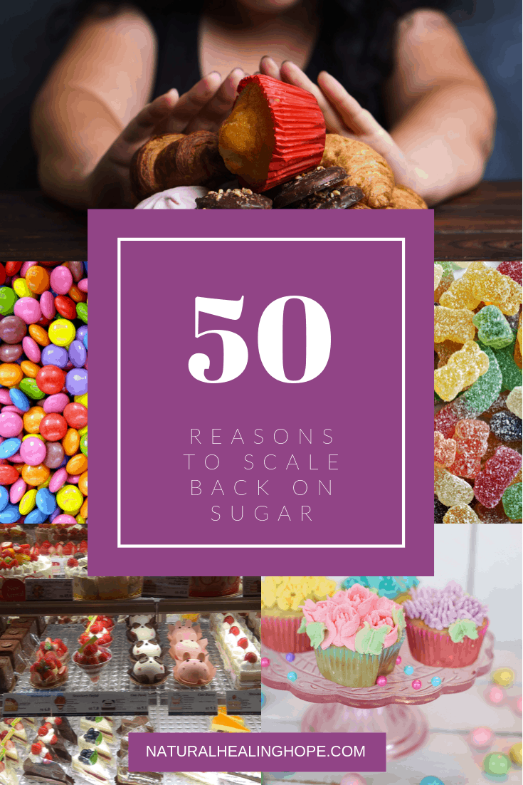 "Lady pushing away sugar as if to say, ""No Thank You!"" with other pictures of sugary treats below and a text overlay that says ""50 Reasons to Scale Back on Sugar"""