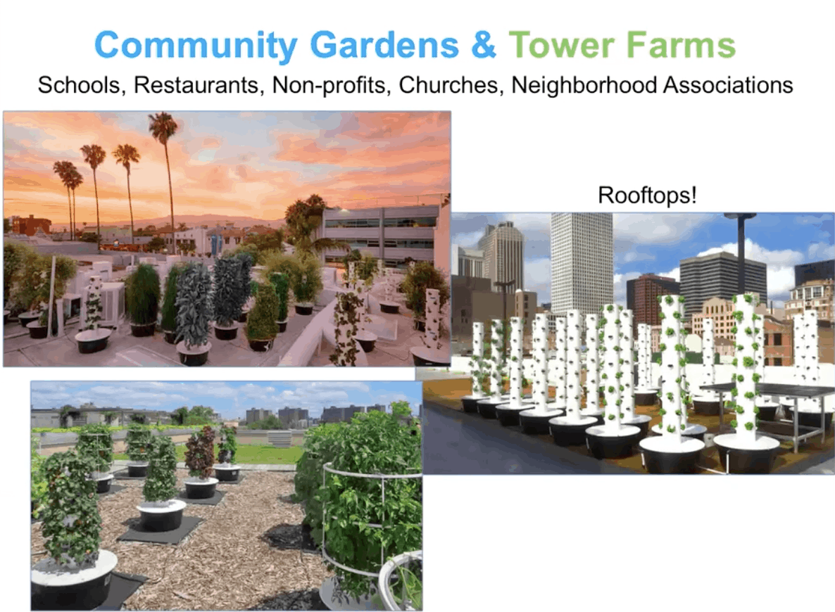 Pictures of Community Gardens and Tower Farms