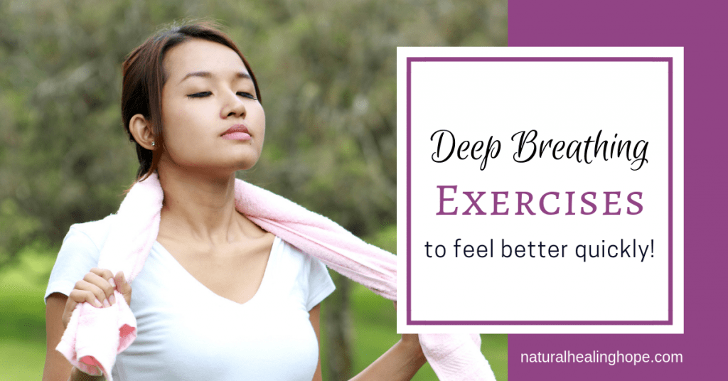 Woman with eyes closed appearing to be taking relaxing deep breaths with text overlay that says: Deep Breathing Exercises to feel better quickly