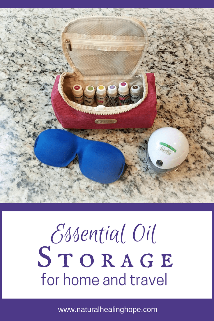 Travel bag with essential oils, sleeping mask and mini diffuser with text overlay that says: Essential Oil Storage for Home and Travel