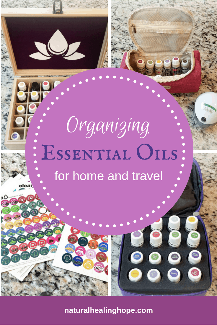 Four images of essential oils organization and storage ideas with text overlay that says: Organizing Essential Oils for home and travel.