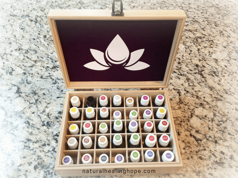 Essential Oil Storage Box Opened showing oils