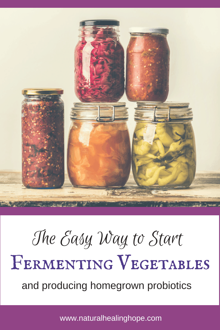 Jars of Fermenting Vegetables with text overlay that says: The Easy Way to Start Fermenting Vegetables to get your probiotics