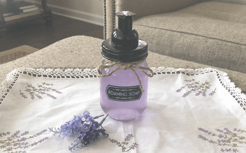 A Lavender Foaming Hand Soap on a tray.