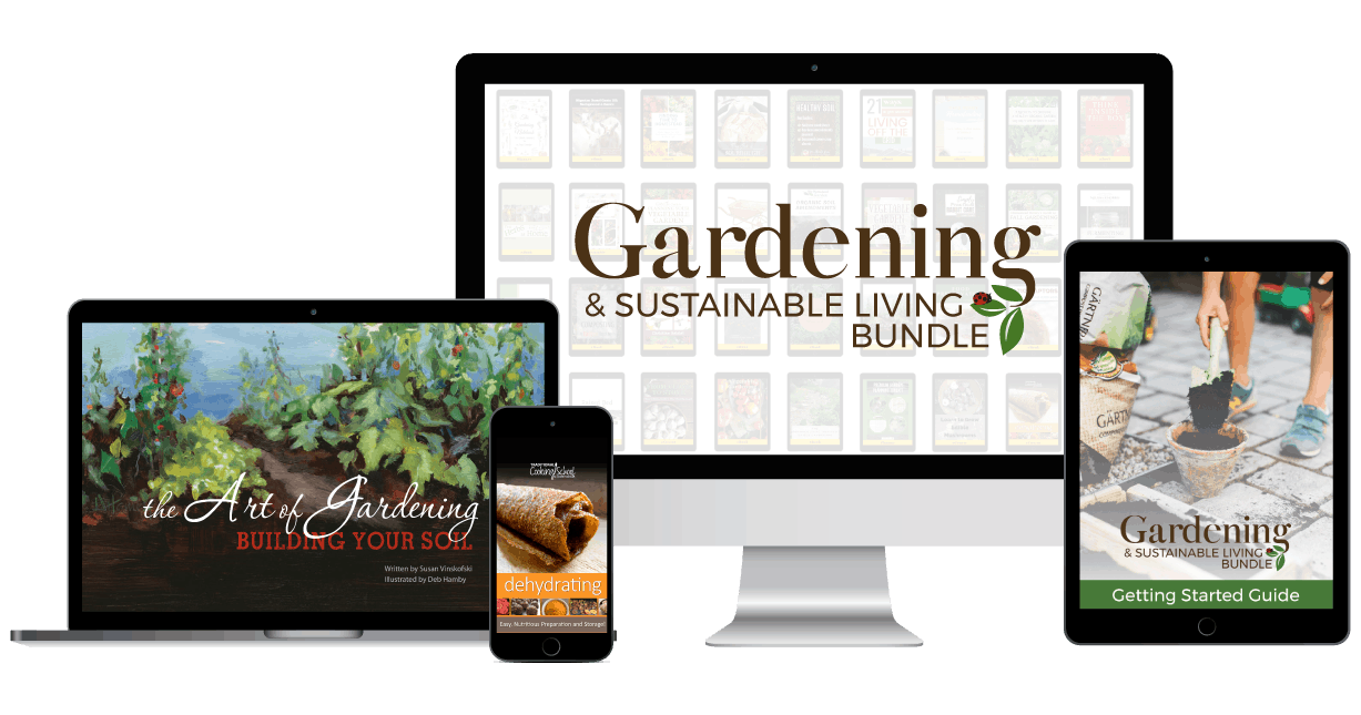 Images of digital devices showing resources in the Gardening & Sustainable Living Bundle