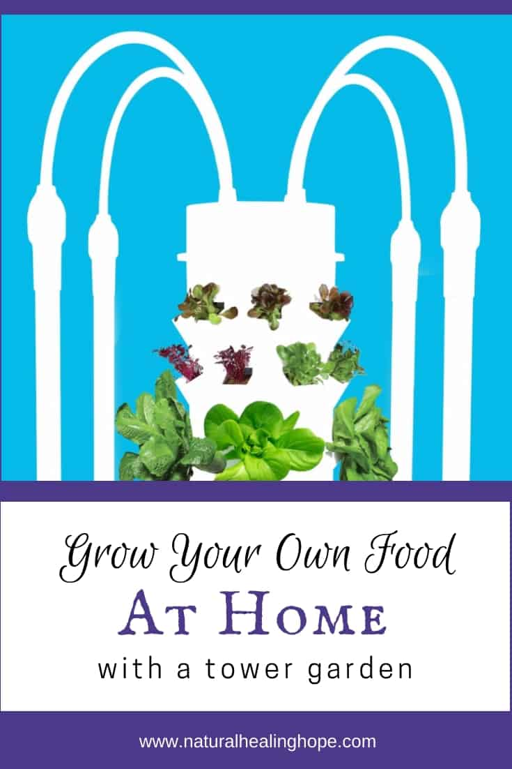 Image of a Tower Garden with text overlays that says: Grow Your Own Food at Home with a Tower Garden.
