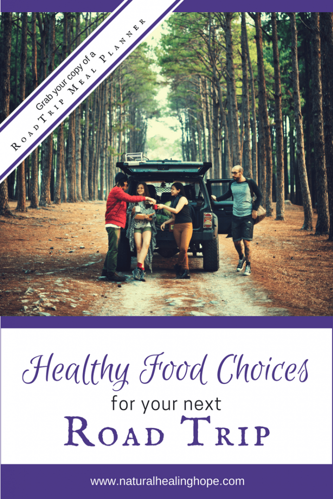 Family eating healthy food choices on a road trip- Pinterest Image