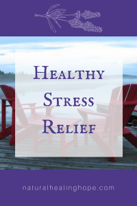 Two Red Chairs on a dock with text overlay that says: Healthy Stress Relief