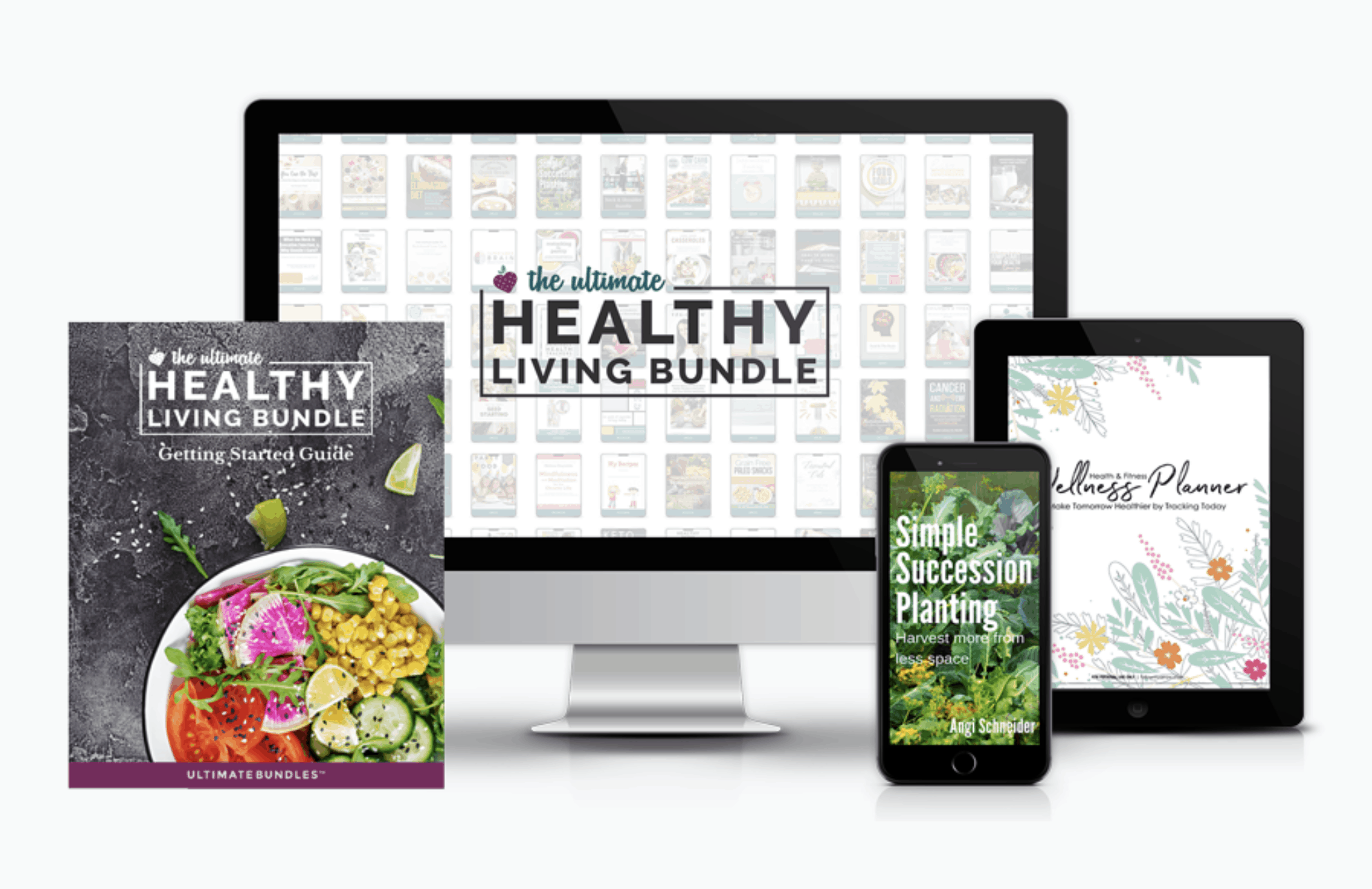 the ultimate healthy living bundle pictured on a book cover, a desktop, an iPad and a cell phone