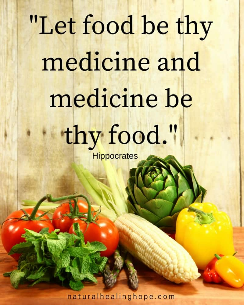 Picture of Vegetables with text overlay that says: Let food be thy medicine and medicine be thy food quote, by Hippocrates