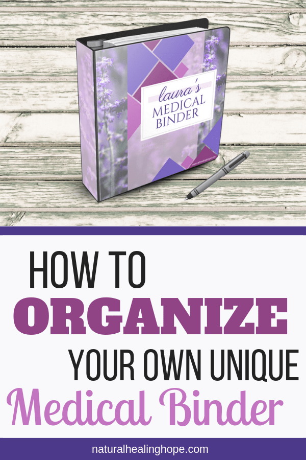 Picture of Laura's Medical Binder with text overlay that says: How to Organize Your own Unique Medical Binder
