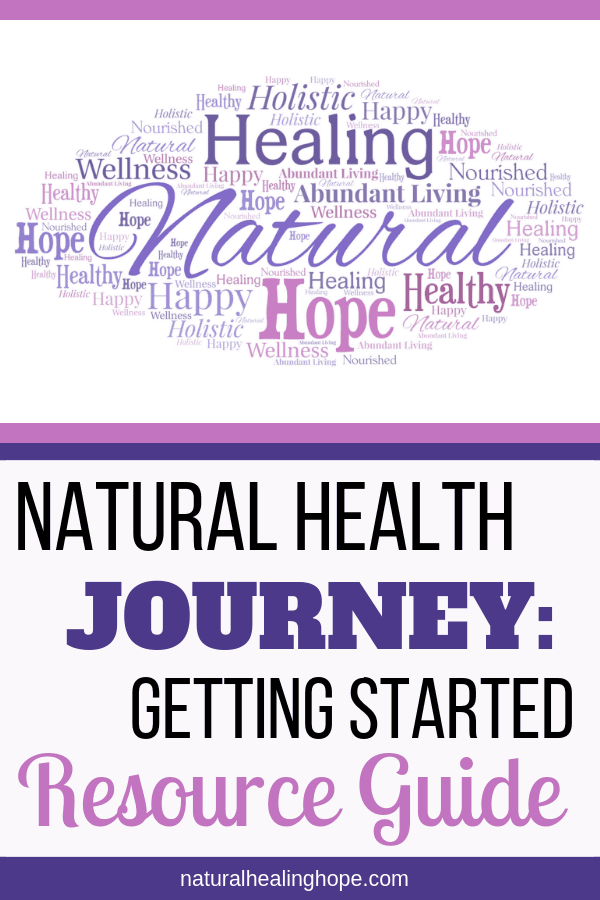 word bubble with words related to natural healing hope with text overlay that says: Natural Health Journey: Getting Started Resource Guide