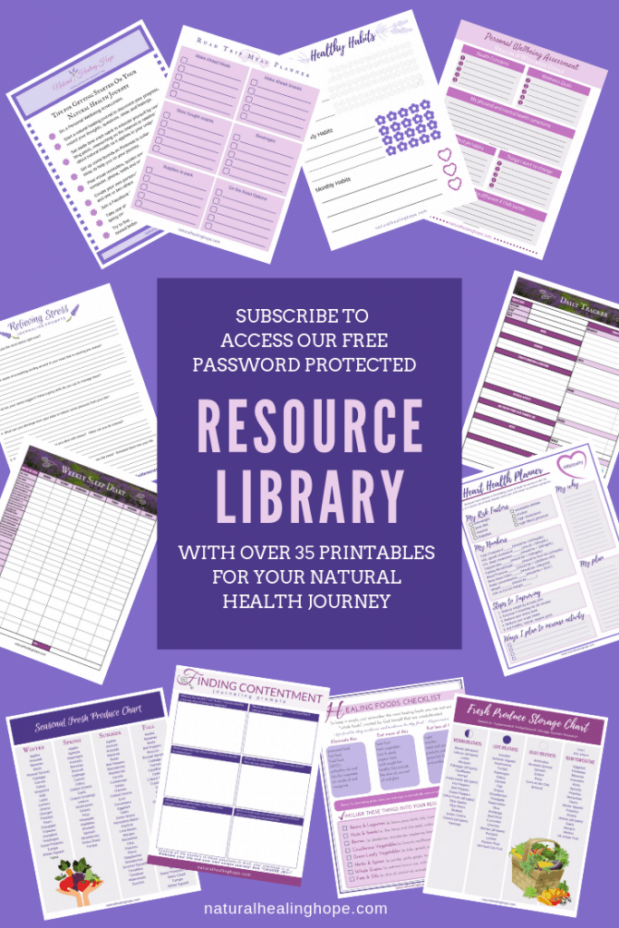 Thumbnail images of printables available in our FREE Resource Library available to subscribers. Includes over 35 Printables for you natural health journey.