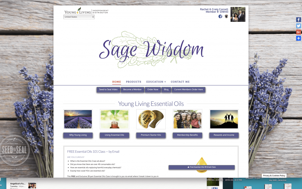 Sage Wisdom Young Living website