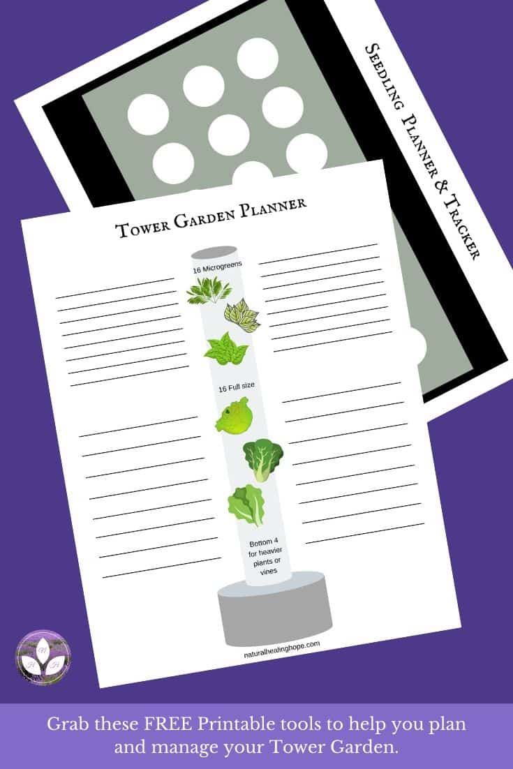 "Picture of printable ""Seedling Planner & Tracker"" and ""Tower Garden Planner"" with text overlay that says: Grab these FREE Printable tools to help you plan and manage your Tower Garden."