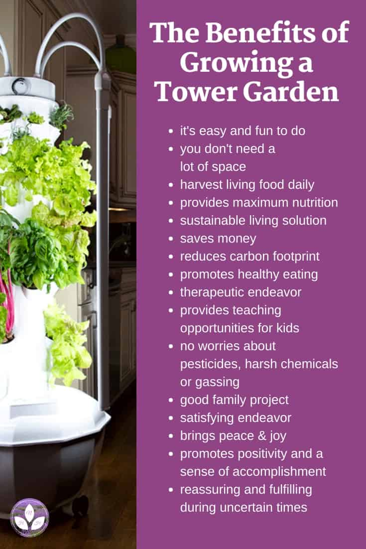 Picture of a Tower Garden with text that says: The Benefits of Growing a Tower Garden.