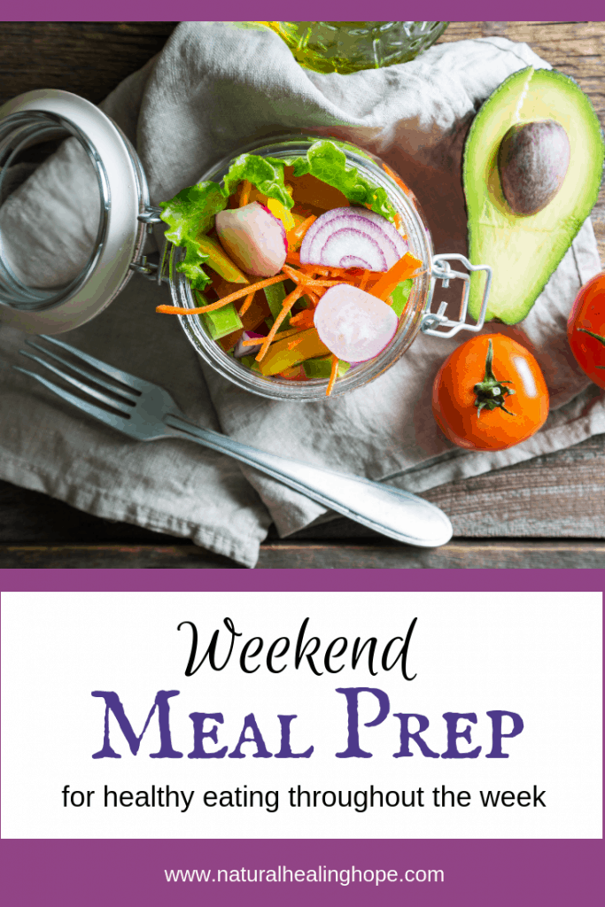 """Salad in a jar ready to eat with text overlay that says """"Weekend food prep for healthy eating"""""""