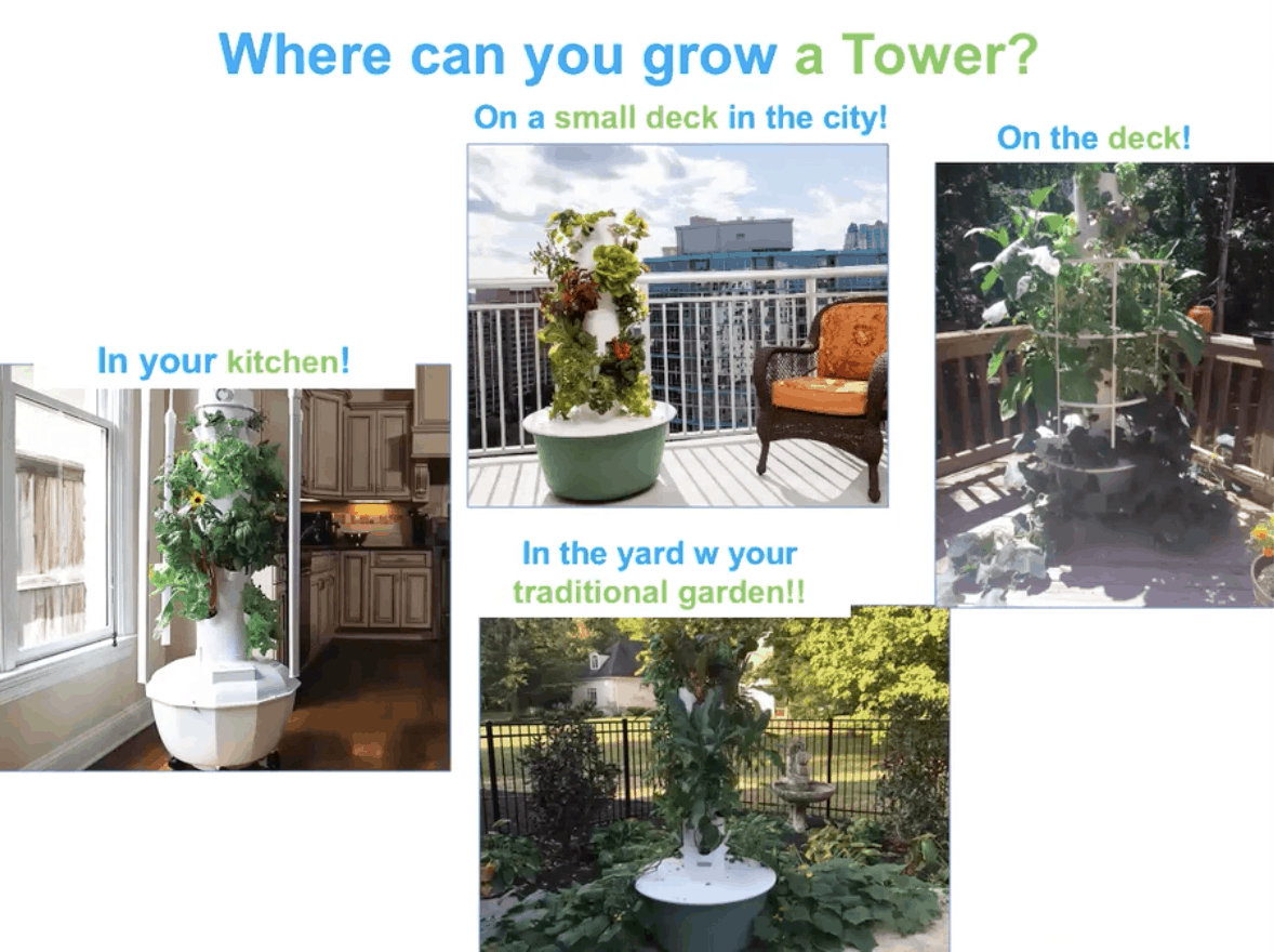 Pictures of tower gardens in various locations including your kitchen, on a small deck in the city, on a deck in a yard, or in a traditional garden.