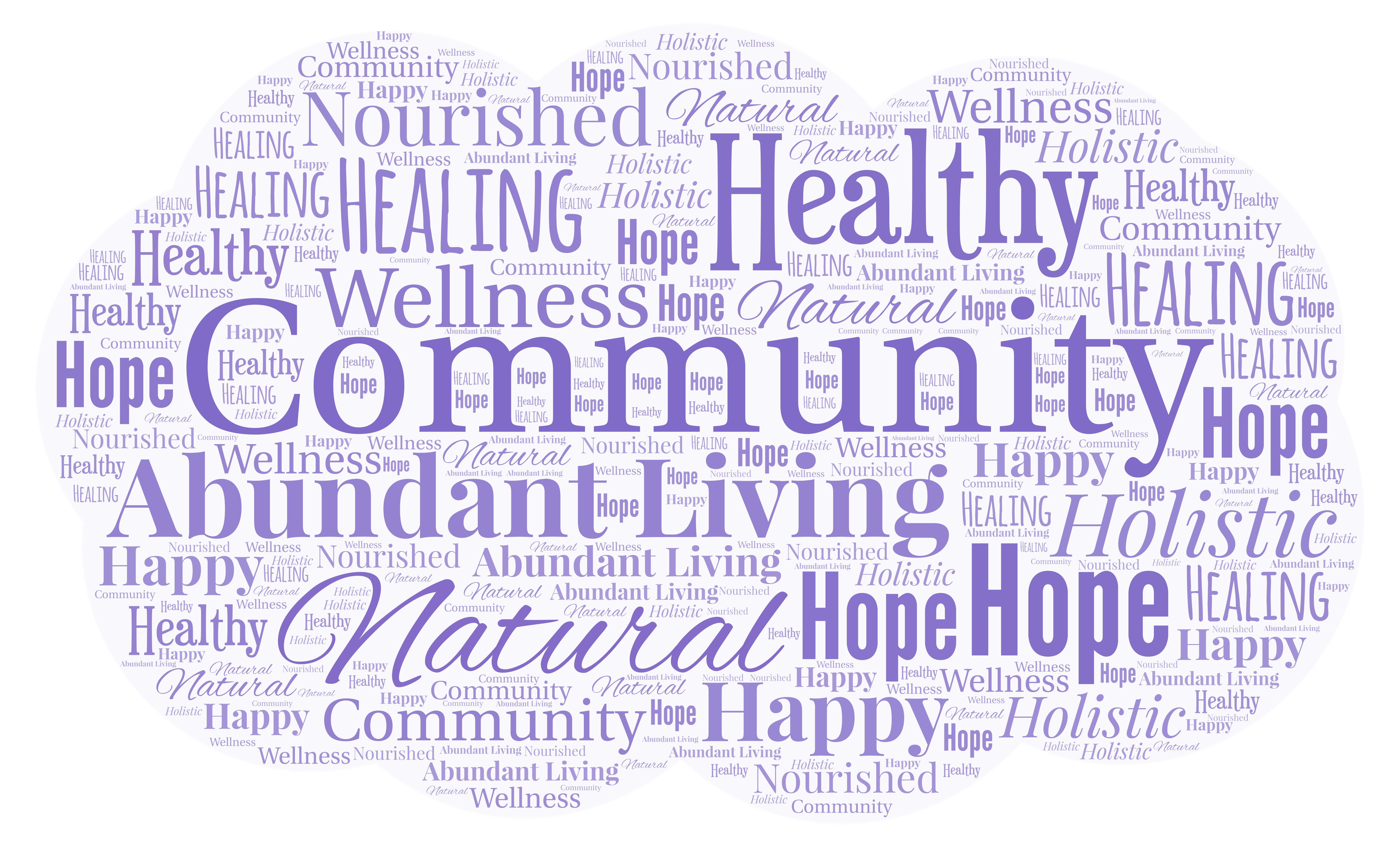 Word Art centered around Natural Healing Hope Community