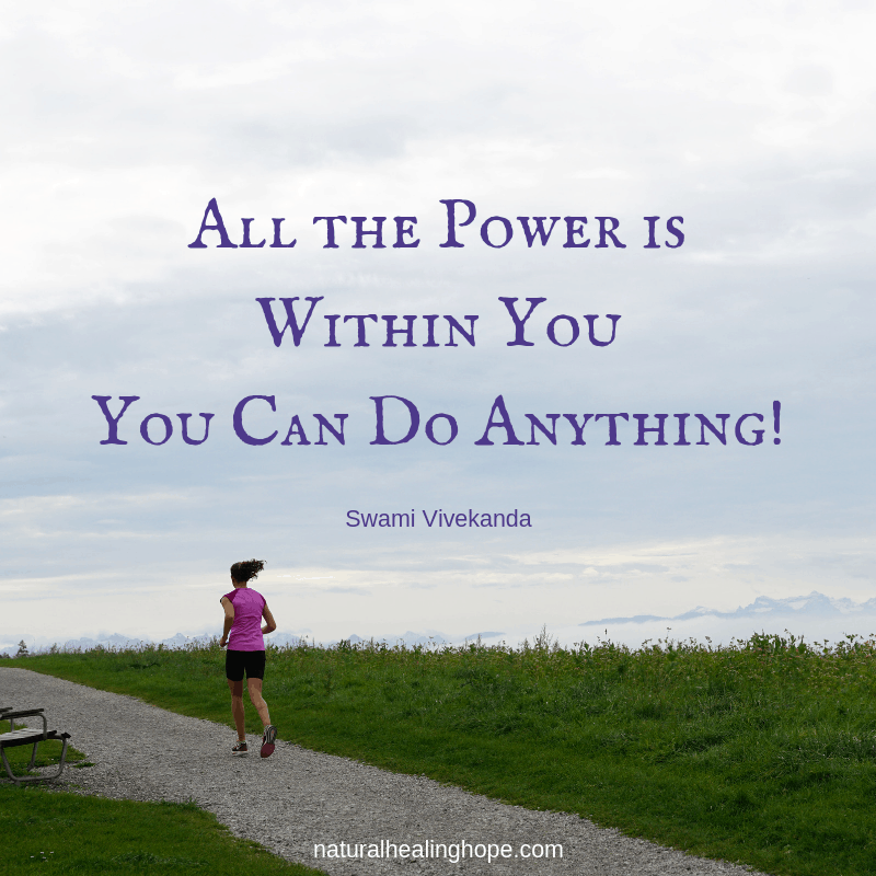 "Girl running on path with text overlay quote ""All the Power is Within You! You Can Do Anything!"