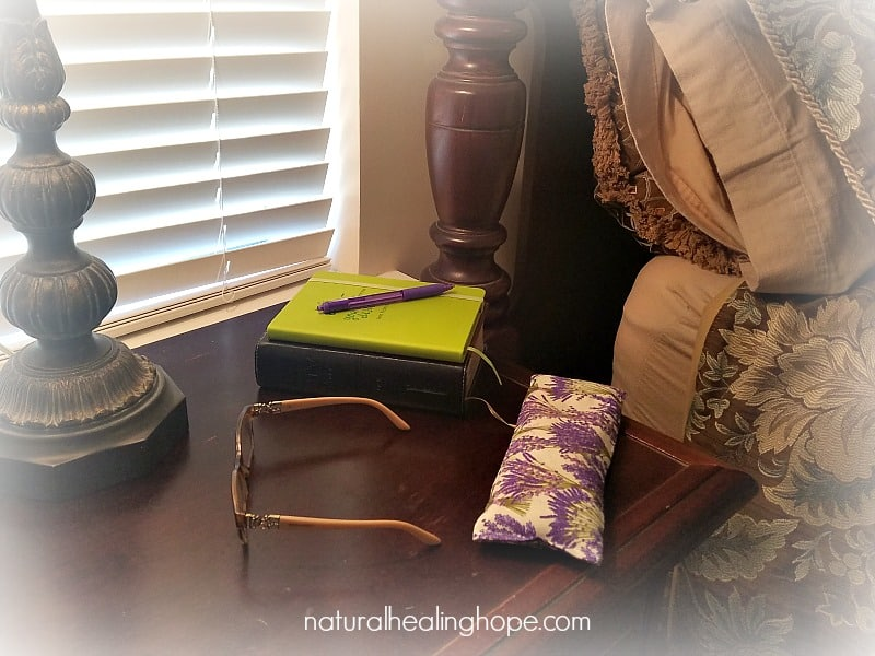 Bedside DIY Lavender Eye Pillow with bible, journal, pen and glasses