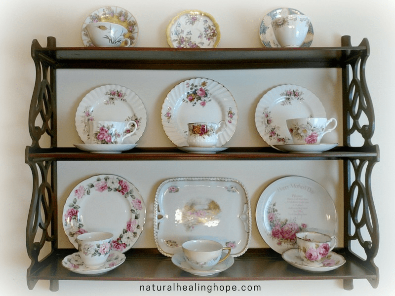 Tea Cups and Plates on Display- Family Heirlooms