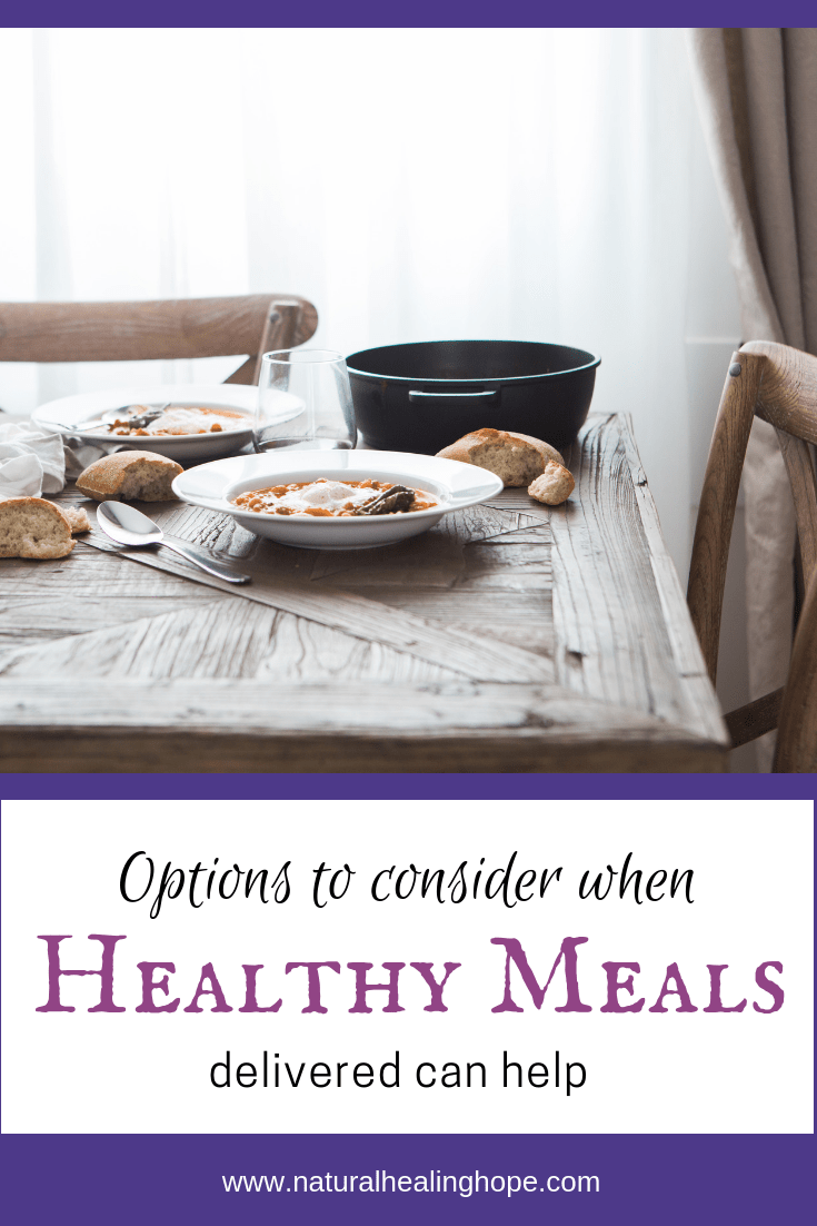 "picture of a dinner table with a healthy meal with text overlay that says ""Options to consider when Healthy Meals delivered can help"""