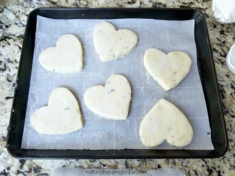 gluten free lemon lavender scones ready to go in the oven