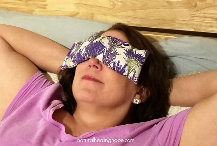 Me with my DIY Lavender Eye Pillow taking a break from blogging