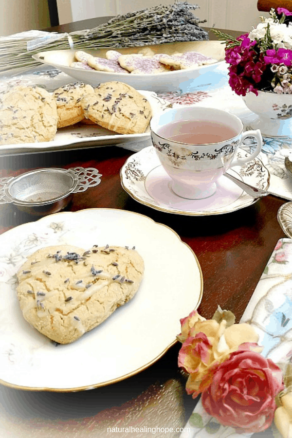 A Picture of a vintage lavender tea party for two.