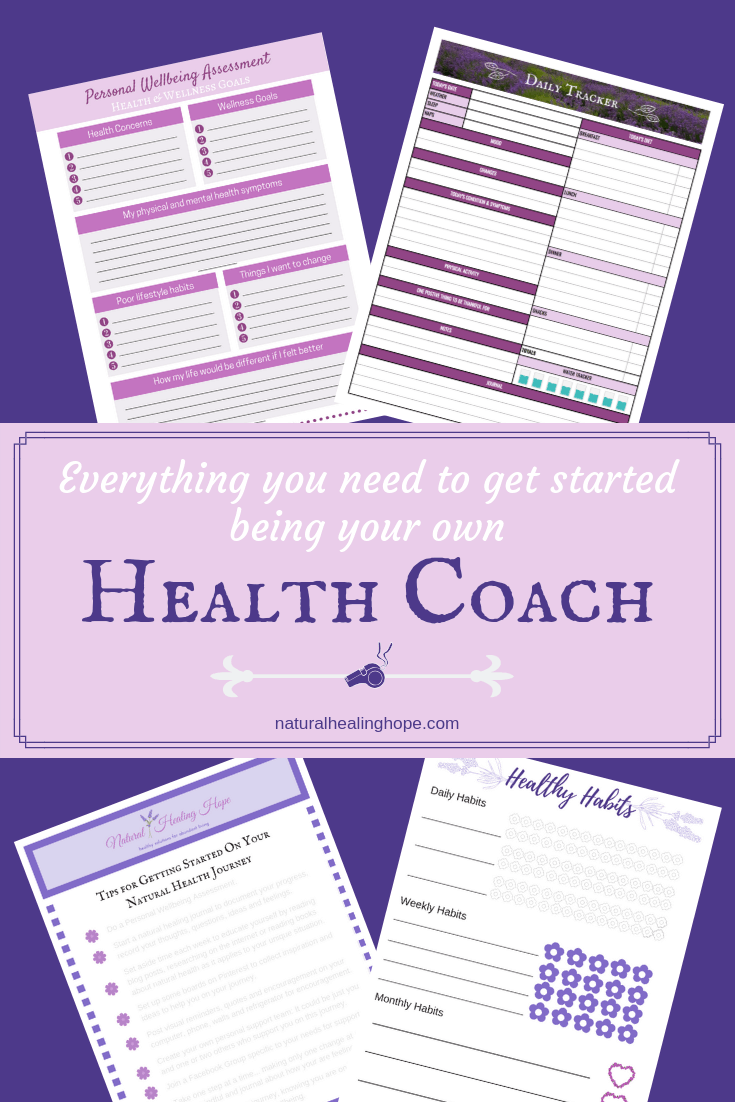 picture of 4 printables with text overlay that says: Everything you need to get started being your own Health Coach